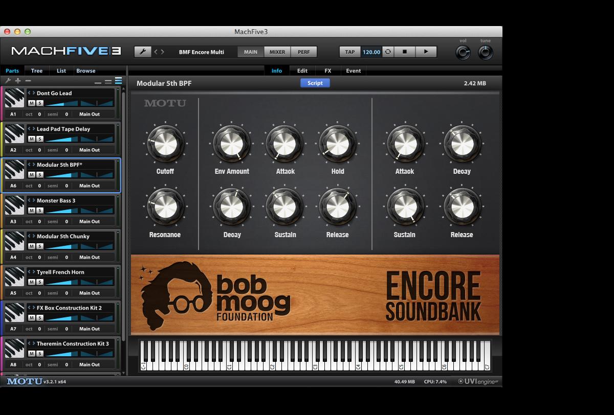 Bob Moog Foundation Encore Soundbank | MOTU com