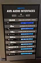 MOTU AVB stack in a rack