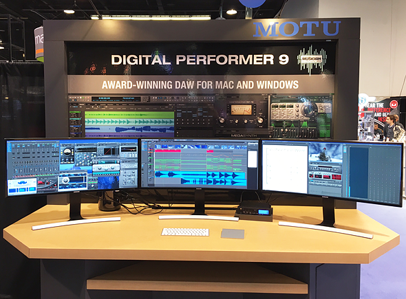Digital Performer 9 on three curved Samsung monitors