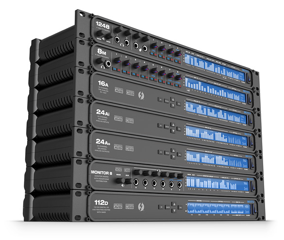 Stack of seven MOTU AVB interfaces