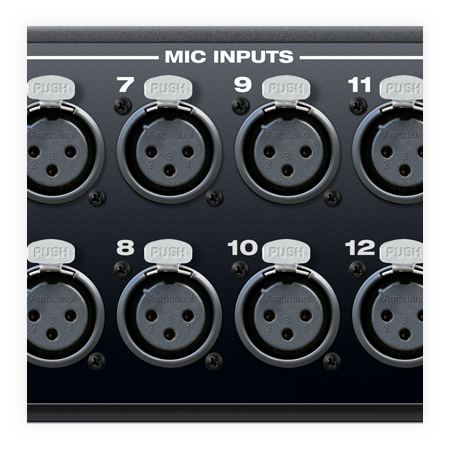 Close-up of mic inputs