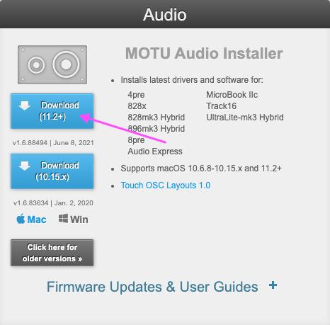 MOTU download page
