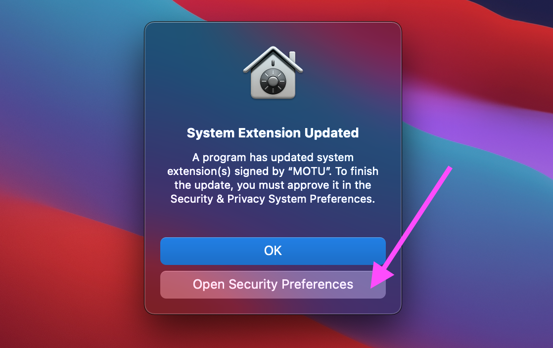 System Extension Updated notification