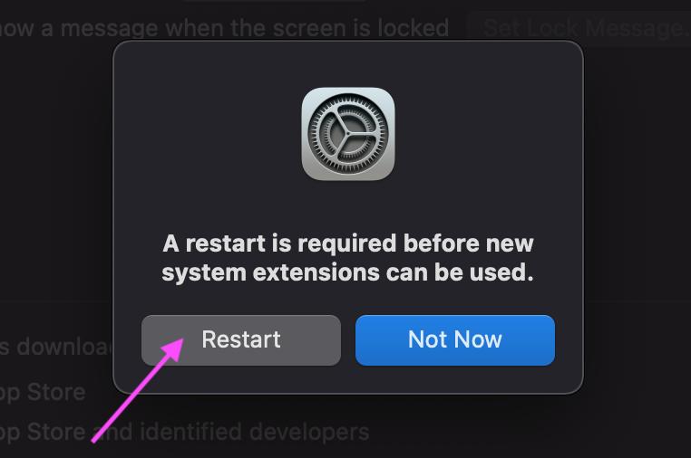 System restart prompt
