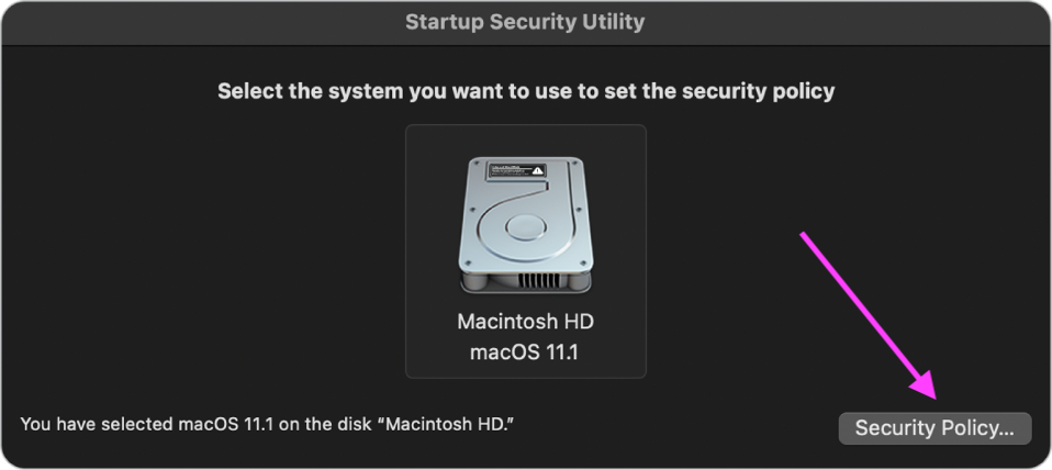 Startup Security Utility - Security Policy