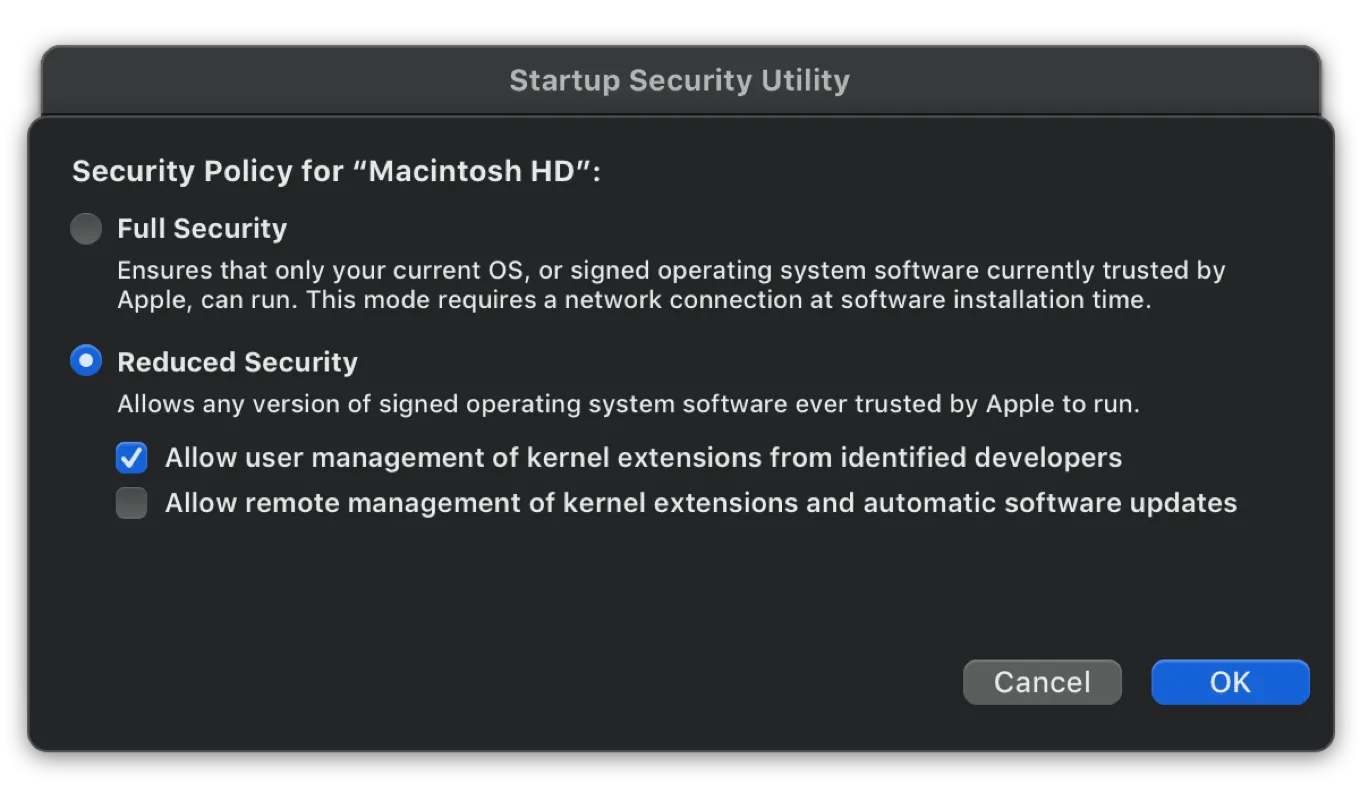 Startup Security Utility - Security Policy Options